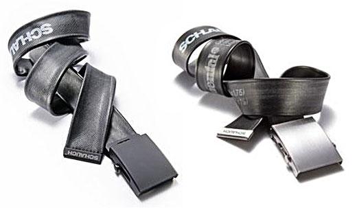 Schlauch apresenta, cintos feitos de borracha, com tubos utilizados no interior de pneus de bicicletas, ou seja a velha e boa câmara de borracha.